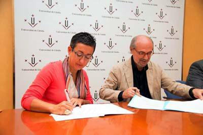 Signatura del conveni entre ICD i UdL
