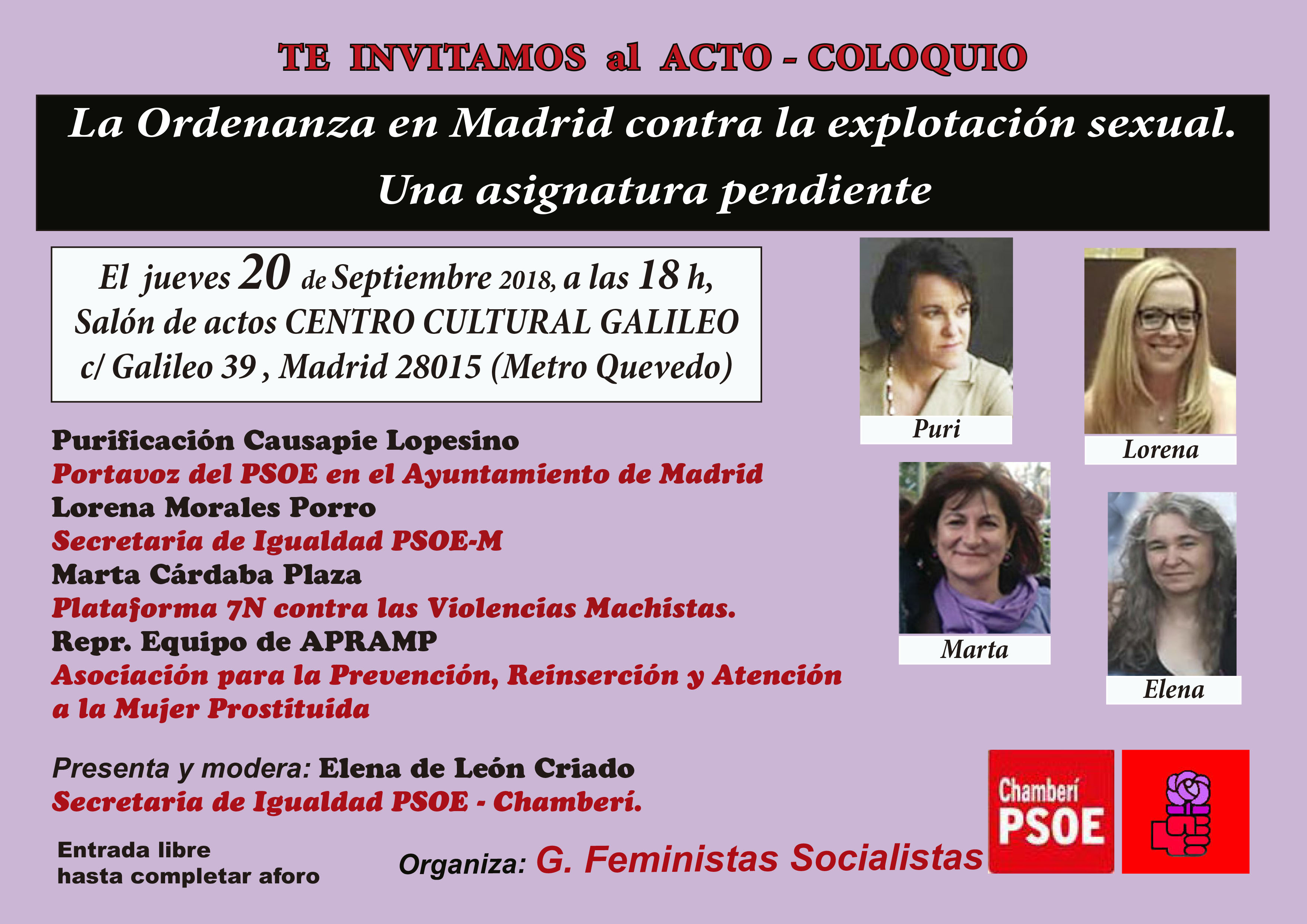 Invitación al Acto La Ordenanza en Madrid contra la explotación sexual.