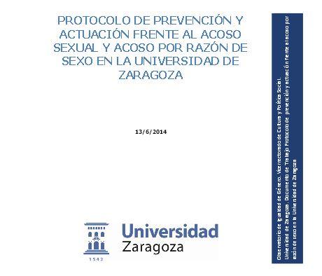 Protocolo de prevencion y actuacion frente al acoso sexual UZ